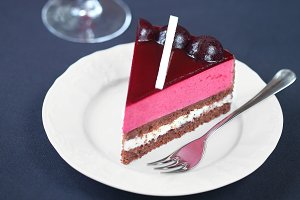 Piece of Chocolate Berry Mousse Cake