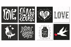 Doodle set of hand drawn style cards