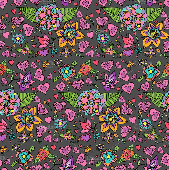 Cute Hearts and Flowers Pattern