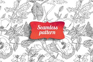 Floral seamless linear pattern