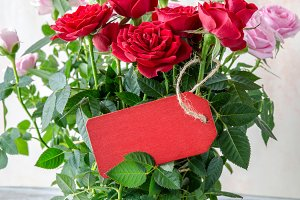 tarjeta roja y rosas