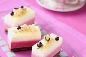 White and Black Currant Mousse Cakes