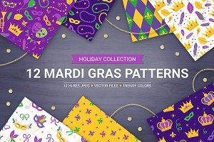 12 Mardi Gras Seamless Patterns