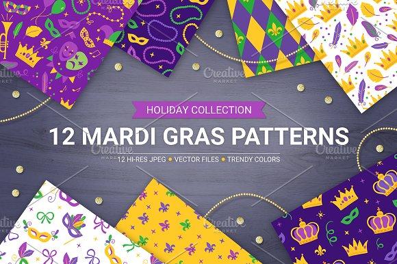 12 Mardi Gras Seamless Patterns