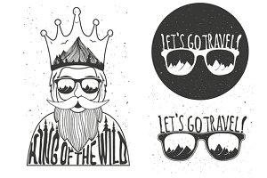 Hipster wild king set