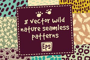 8 vector wild nature patterns set