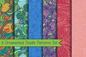 6 Ornamented Doodle Patterns Set