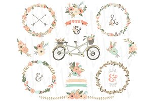 Vintage Floral Wreaths Bicycles