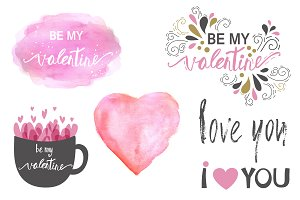 Valentine`s day clipart set