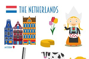 Netherlands Flat Icon Set Travel