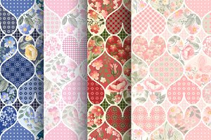 patchwork patterns with hearts