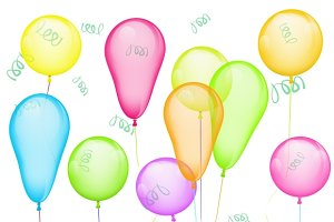 Set of balloons on white