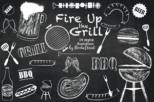 Fire UP the Grill - chalk cliparts