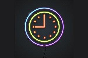 Neon Clock. Vector
