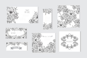 Peony Floral Card Templates