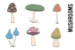 Mushroom Doodle Clipart