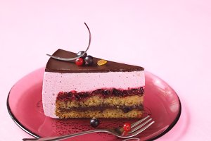 Piece of Red Currant Souffle Cake