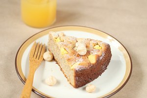 Piece of Mango Macadamia Cake