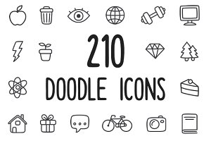 210 multipurpose hand drawn icons