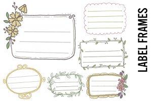 Floral Label Frame Doodles