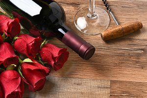 Wine and Roses for Valentines Day
