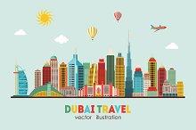 Dubai City skyline detailed silhouet