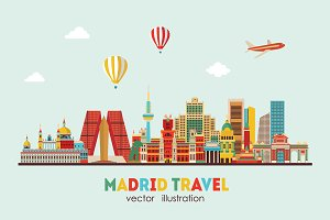 Madrid skyline. vector illustration