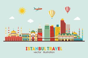 Istanbul skyline detailed silhouette