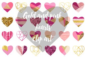 Gold and pink hearts clip art