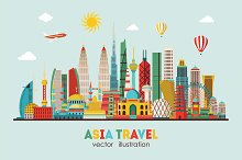 Asia skyline detailed silhouette. Ve