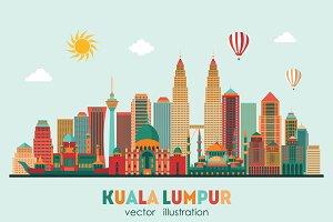 Kuala Lumpur detailed silhouette.
