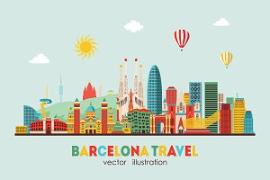 Barcelona skyline detailed silhouett