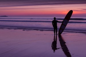 Atlantic Surfer at Sunset