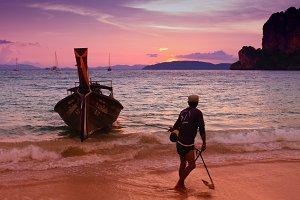 Thailand sunset on coast