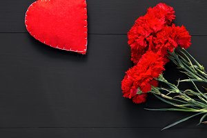 Valentines day with hearts and red f