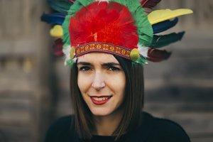 woman with indian hat