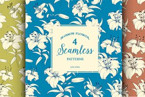Seamless  pattern with lily flowers.