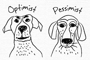 Optimism and pessimism. Vector icons