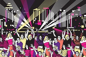 Vector nightclub disco party