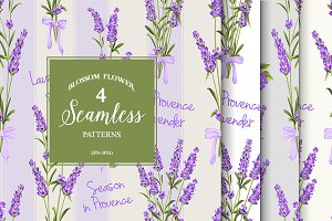 Seamless pattern of lavender flowers