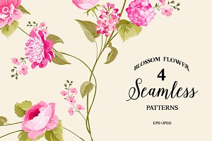 4 patterns with seamless flowers