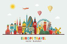 Europe skyline detailed silhouette.