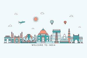 India skyline. Line art style