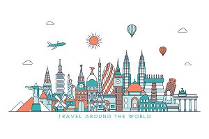Line art world travel illustration