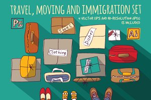 Travel, moving and immigration set