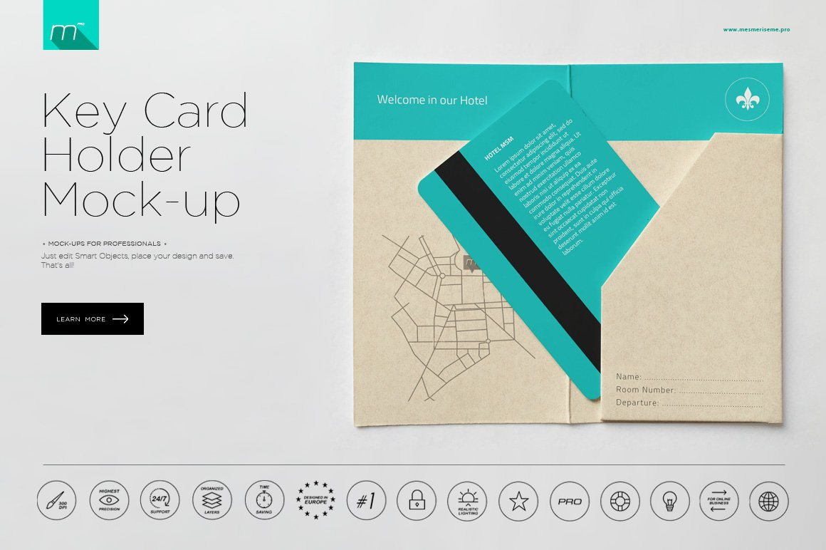Hotel key card holder mock up product mockups creative market ccuart Gallery
