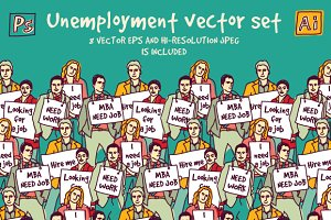 Unemployment vector set