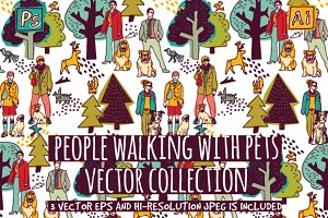 People walking with pets. Vector set