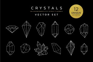 Crystals Vector Illustration Set