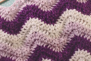 Purple Crochet Ripple Blanket